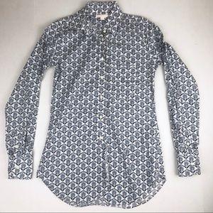 Ann Mashburn Blue/White Print Boyfriend Shirt